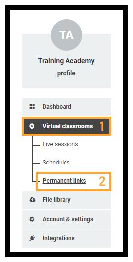 Permanent Links in the VEDAMO platform: location of the permanent links in the Virtual classroom plan