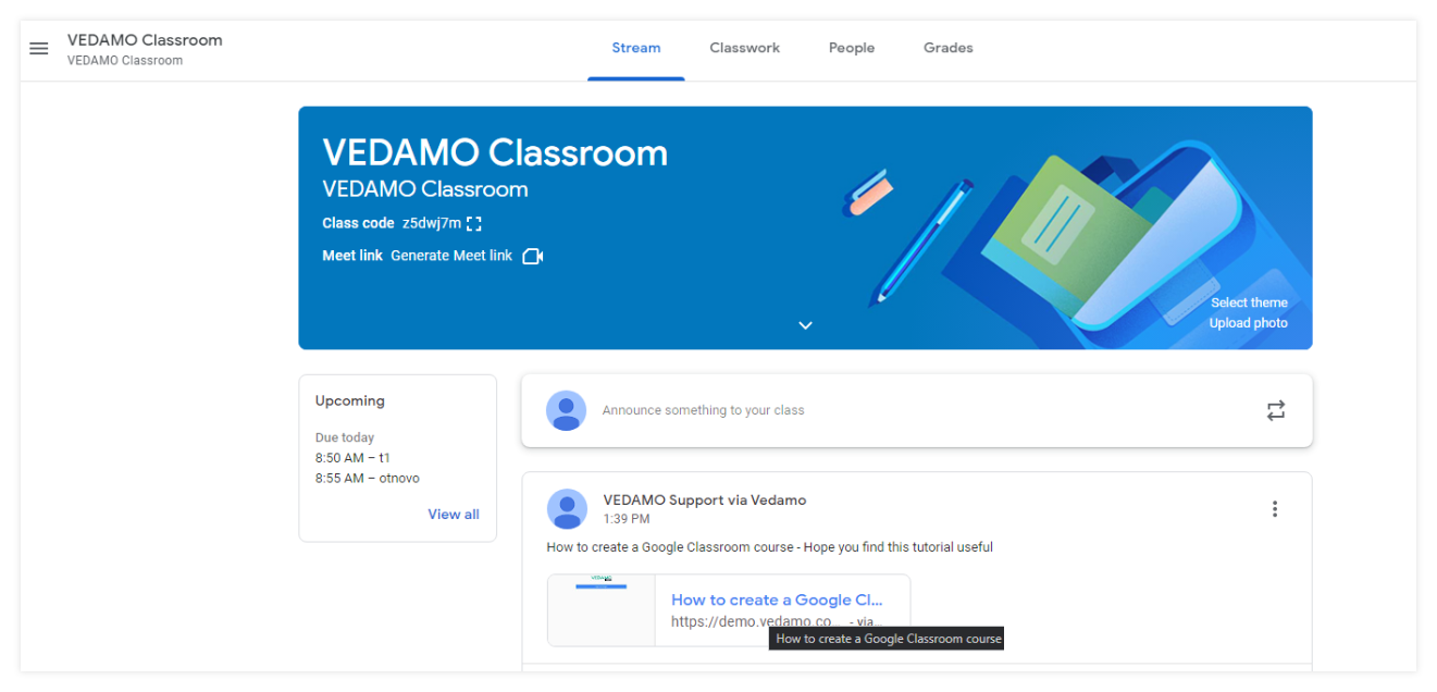 Permanent Links in the VEDAMO platform: this is how the participants dashboard will look like when logged in the Google classroom account