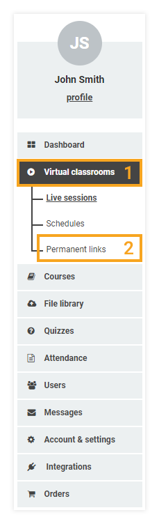 Permanent Links in the VEDAMO Learning Management System: location of the permanent links