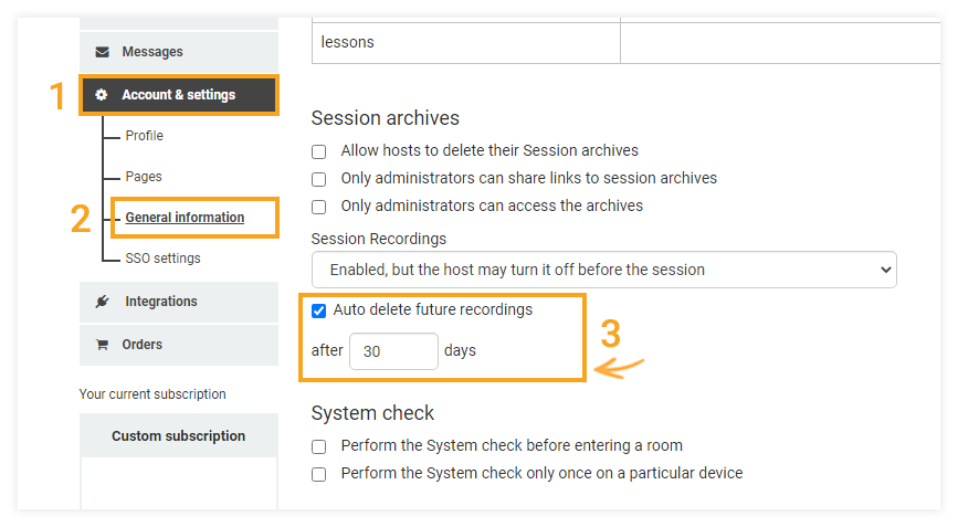 Interactive Recordings: Location of the Auto Delete function in the Account & Settings page
