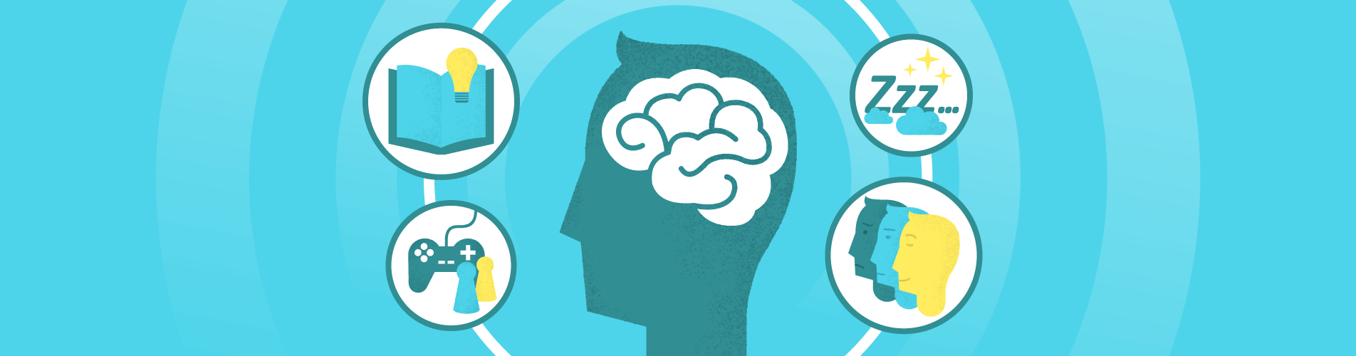 An image representing brain power combine with different images representing sides of the virtual learning