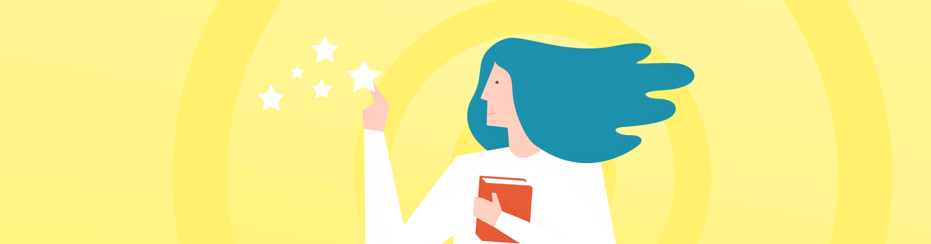 An image of woman with book and stars in the context of the important tech skills for online students